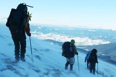 Skispuren im Schnee Lizenzfreies Stockfoto