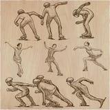 Skispuren im Schnee Eisschnelllauf und Eiskunstlauf Ein Hand gezeichnetes VE Lizenzfreies Stockbild