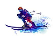 Skispuren im Schnee Skifahrenmann Auch im corel abgehobenen Betrag Lizenzfreie Stockfotos