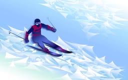 Skispuren im Schnee Skifahrenmann Auch im corel abgehobenen Betrag Stockbild