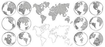 Skissa översikten Skissar det utdragna jordjordklotet för handen och att dra världskartor och jordklot den isolerade vektorillust royaltyfri illustrationer