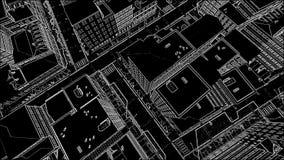 Skissa abstrakt arkitektonisk bakgrund för staden stock video