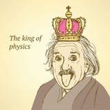 Skissa Albert Einstein i tappningstil royaltyfri illustrationer