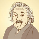 Skissa Albert Einstein i tappningstil stock illustrationer