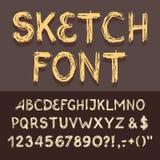 Skissa alfabetuppsättningen Royaltyfri Foto