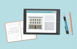 Skissa, att dra av byggnaden i en anteckningsbok och den digitala minnestavlan stock illustrationer