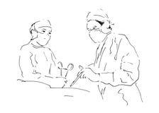 Skissa att fungera för två doktorer Arkivfoto