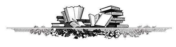 Skissa av böcker på hylla illustratören för illustrationen för handen för borstekol gör teckningen tecknade som look pastell till stock illustrationer
