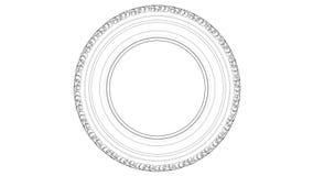 Skissa av bilgummihjulet skivtallrikvideo för illustration 3d royaltyfri illustrationer