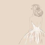 Skissa av bruden också vektor för coreldrawillustration Royaltyfri Bild