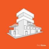Skissa av byggnad för fastighetbyrå Arkivbilder