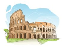 Skissa av Colosseumen, Rome royaltyfri illustrationer