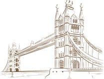 Skissa av den brittiska turismgränsmärket - den London bron Royaltyfri Foto