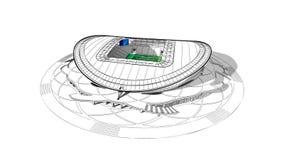 Skissa av den huvudsakliga stadion i Kazan Royaltyfria Bilder