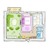 Skissa av den inre lägenheten för designen, den drog handen Royaltyfri Fotografi