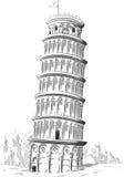 Skissa av den Italien gränsmärket - torn av Pisa Royaltyfri Fotografi