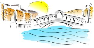 Skissa av den Rialto bron Royaltyfri Bild