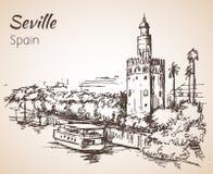 Skissa av den Spanien staden Seville del oro torre royaltyfri illustrationer