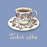 Skissa av den turkiska koppen kaffe stock illustrationer