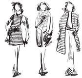 Skissa av det bärande laget för kvinnan Mode och skönhet Royaltyfri Fotografi