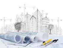 Skissa av det moderna byggnadskonstruktion och plandokumentet Royaltyfria Foton