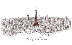 Skissa av det stadsscapeTokyo tornet med byggnadshorisont, vektor illustrationer