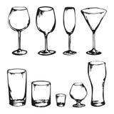 Skissa av drinkexponeringsglas vektor illustrationer
