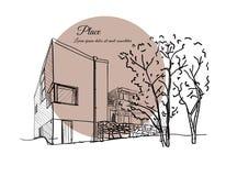 Skissa av en byggnad med en beige cirkel på bakgrunden med text Royaltyfri Fotografi