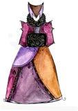 Skissa av en fantasiklänning för teatern och bion Royaltyfri Foto