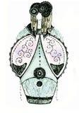 Skissa av en fantasiklänning för teatern och bion Royaltyfria Bilder