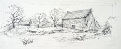 Skissa av en gammal ladugård Arkivbilder