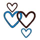 Skissa av en hjärta med färgpulver Fotografering för Bildbyråer