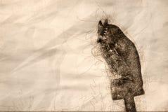 Skissa av en konstgjorda Owl Keeping Watch vektor illustrationer
