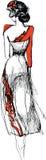 Skissa av en ung flicka i en härlig klänning Arkivfoto