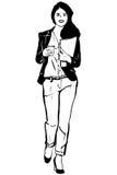 Skissa av en ung student bär flåsanden och kaffe Arkivbilder