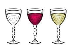 Skissa av ett exponeringsglas av vin Royaltyfri Foto