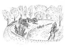 Skissa av ett landskap Royaltyfri Illustrationer