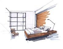 Skissa av ett modernt sovrum golv-till-tak Windows, stor dubbelsäng med kuddar tabell f?r bedsidelampa Brun signal stock illustrationer