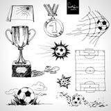 Skissa av fotbollbeståndsdelar Arkivfoto