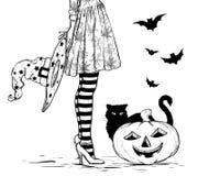 Skissa av häxa med trollkarlhatten i hand i den halloween dräkten, svart katt och pumpa svart white royaltyfri illustrationer