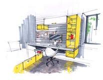 Skissa av inre av en hemtrevlig studio, vind i gula signaler stora Windows, en stol i en modern stil, a vektor illustrationer