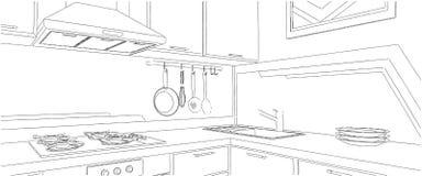 Skissa av kökhörn med köksgeråd Royaltyfri Illustrationer