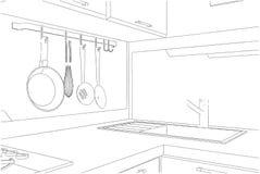 Skissa av kökhörn med redskap Royaltyfri Illustrationer