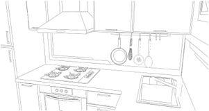 Skissa av kökhörn med redskap Stock Illustrationer