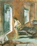 Skissa av målningborsten och olja Royaltyfri Foto