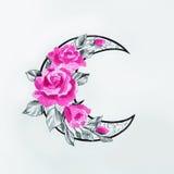Skissa av månen med blommor på en vit bakgrund Royaltyfria Bilder