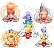 Skissa av man, i att meditera, och görande yoga poserar Arkivfoto