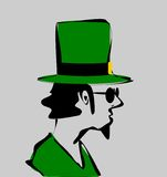 Skissa av manen som ha på sig den irländska hatten Arkivfoton