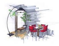 Skissa av matsalen blommor, tabell och röda stolar i området med stora Windows stor märkes- golvlampa Hand stock illustrationer