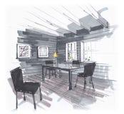 Skissa av matsalen tabell och stolar i området med stora Windows M?lningar p? v?ggen Hand-dragen inre royaltyfri illustrationer